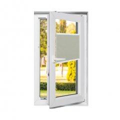Store plissé fenêtres oscillo-battantes tamisant blanc crème