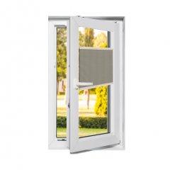Store plissé fenêtres oscillo-battantes occultant brun beige
