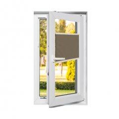 Store plissé fenêtres oscillo-battantes occultant grège