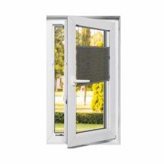 Store plissé fenêtres oscillo-battantes voile noir profond avec commande cordon
