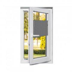 Store plissé fenêtres oscillo-battantes occultant gris foncé avec commande cordon