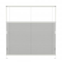 Store plissé blanc grisé tamisant commande cordon