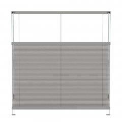Store plissé gris chaud pointillé tamisant commande cordon