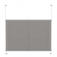 Store plissé tamisant gris chaud pointillé avec commande poignee