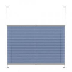 Store plissé tamisant bleu avec commande poignee